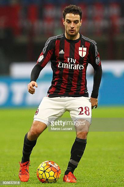 Giacomo Bonaventura of AC Milan in action during the TIM Cup match between AC Milan and Carpi FC at Stadio Giuseppe Meazza on January 13 2016 in...