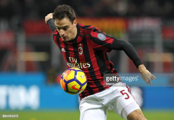 Giacomo Bonaventura of AC Milan in action during the Tim Cup match between AC Milan and Hellas Verona FC at Stadio Giuseppe Meazza on December 13...