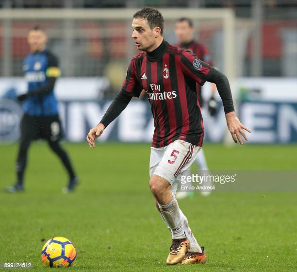 Giacomo Bonaventura of AC Milan in action during the TIM Cup match between AC Milan and FC Internazionale at Stadio Giuseppe Meazza on December 27...
