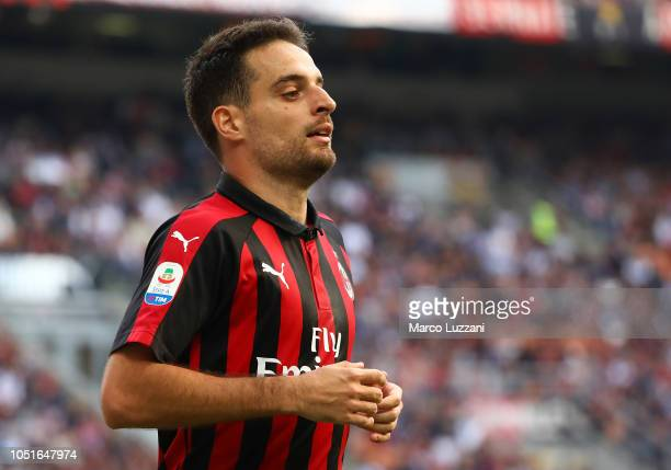 Giacomo Bonaventura of AC Milan looks on during the Serie A match between AC Milan and Chievo Verona at Stadio Giuseppe Meazza on October 7, 2018 in...