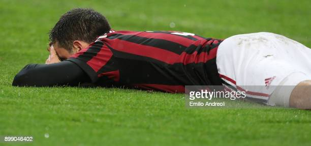 Giacomo Bonaventura of AC Milan reacts during the TIM Cup match between AC Milan and FC Internazionale at Stadio Giuseppe Meazza on December 27 2017...