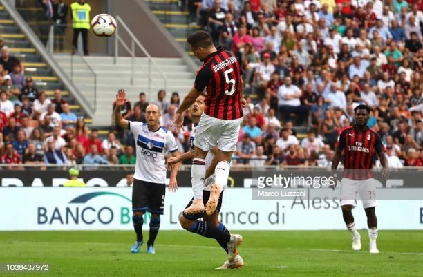 Giacomo Bonaventura of AC Milan scores a disallowed goal by the var during the Serie A match between AC Milan and Atalanta BC at Stadio Giuseppe...