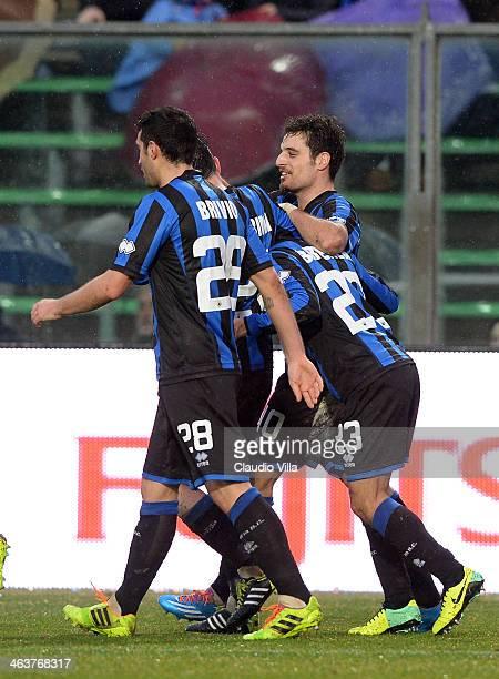 Giacomo Bonaventura of Atalanta BC celebrates scoring the first goal during the Serie A match between Atalanta BC and Cagliari Calcio at Stadio...