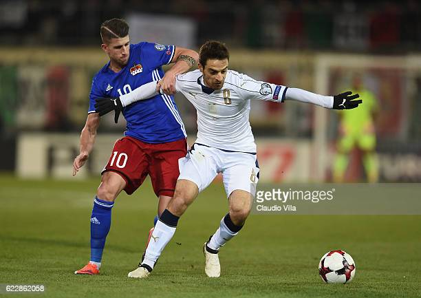 Giacomo Bonaventura of Italy competes for the ball with Sandro Wieser of Liechtenstein during the FIFA World Cup 2018 group G Qualifiers football...