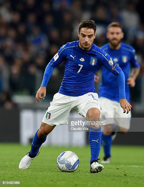 Giacomo Bonaventura of Italy in action during the FIFA 2018 World Cup Qualifier between Italy and Spain at Juventus Stadium on October 6 2016 in...