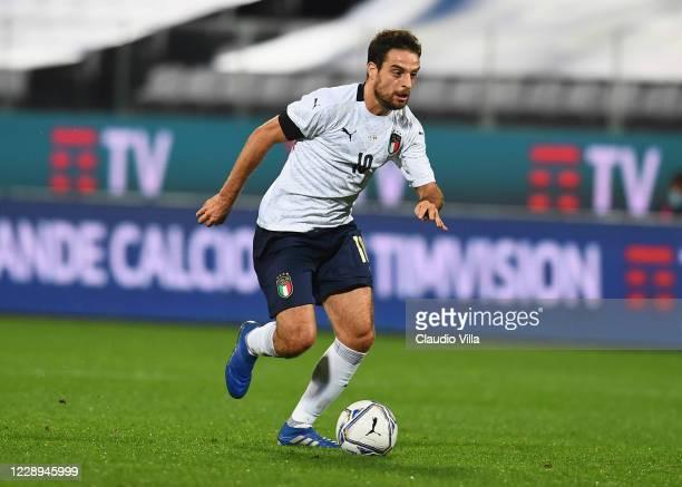 Giacomo Bonaventura of Italy in action during the international friendly match between Italy and Moldova at Artemio Franchi on October 7, 2020 in...