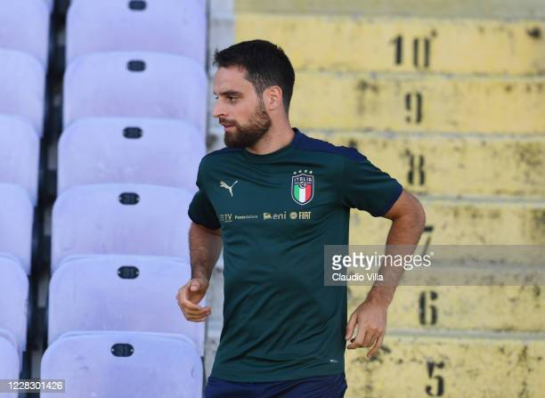 Giacomo Bonaventura of Italy looks on during a training session at Centro Tecnico Federale di Coverciano on September 1, 2020 in Florence, Italy.