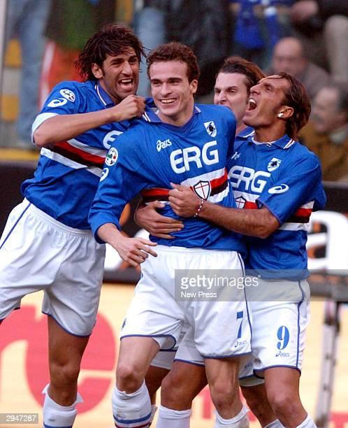 Giacomo Cipriani of Sampdoria celebrates with fellow team mates after scoring during the Serie A match between Sampdoria and Inter at the Luigi...