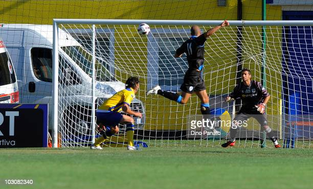 Giacomo Cipriani of Spal scores his first goal during the preseason friendly match between Parma and Spal at Stadio Comunale on July 25 2010 in...
