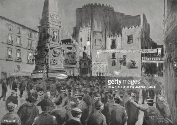 Giacomo Costa assembly in Piazza San Domenico Maggiore during his electorial campaign in Enrico Arlotta Naples Italy drawing by G Garzia from...