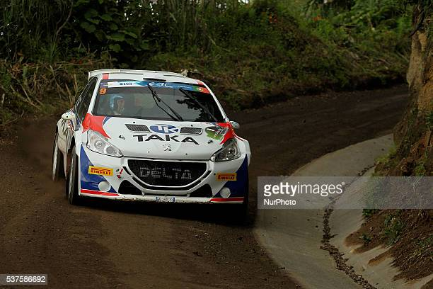 Giacomo Costenaro and Justin Bardini in Peugeot 208 T16 of Giacomo Costenaro during the shakedow of the FIA ERC Azores Airlines Rallye 2016 in Ponta...