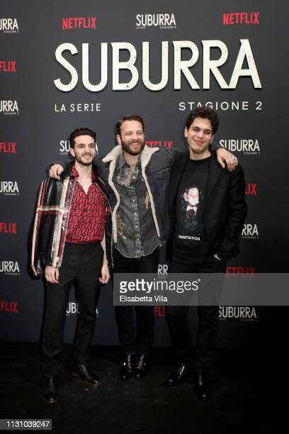 Giacomo Ferrara Alessandro Borghi and Eduardo Valdarnini attend the after party for Netflix Suburra The Series season 2 launch at Circolo Degli...