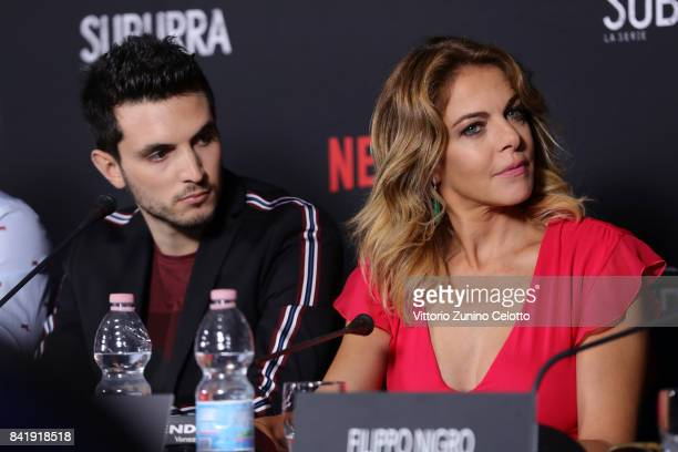 Giacomo Ferrara and Claudia Gerini attend the 'Suburra The Series' press conference during the 74th Venice Film Festival at Sala Casino on September...