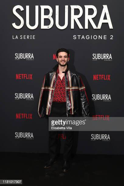 Giacomo Ferrara attends the after party for Netflix Suburra The Series season 2 launch at Circolo Degli Illuminati on February 20 2019 in Rome Italy