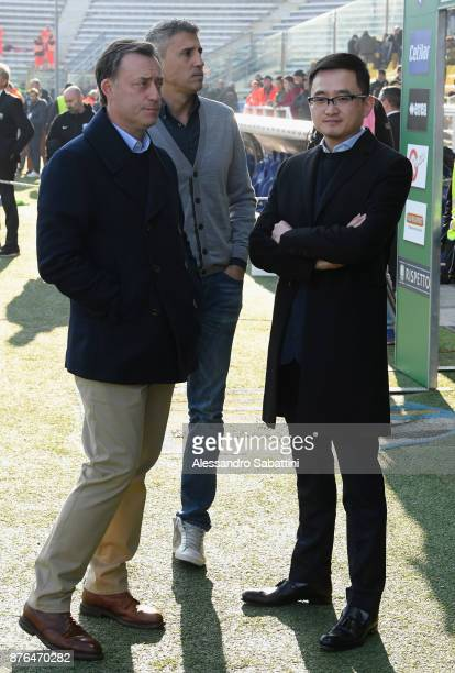 Giacomo Malmesi Vice Predident Jiang Lizhang president of Parma calcio and Hernan Crespo Vice President of Parma Calcio before the Serie B match...