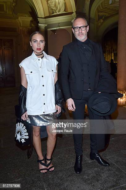 Giacomo Nicolodi and Goldilox attend Vogue Cocktail Party honoring photographer Mario Testino on February 27 2016 in Milan Italy