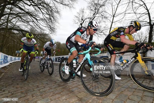 Giacomo Nizzolo of Italy and Team Qhubeka Assos, Michael Matthews of Australia and Team Team BikeExchange & Nathan Van Hooydonck of Belgium and Team...