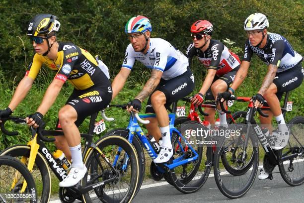 Giacomo Nizzolo of Italy and Team Qhubeka Nexthash, Maxim Van Gils of Belgium and Team Lotto Soudal & Dylan Sunderland of Australia and Team Qhubeka...