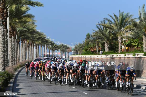 Giacomo Nizzolo of Italy, Maximilian Walscheid of Germany and Team Qhubeka Assos, Alex Dowsett of The United Kingdom and Team Israel Start-up Nation,...