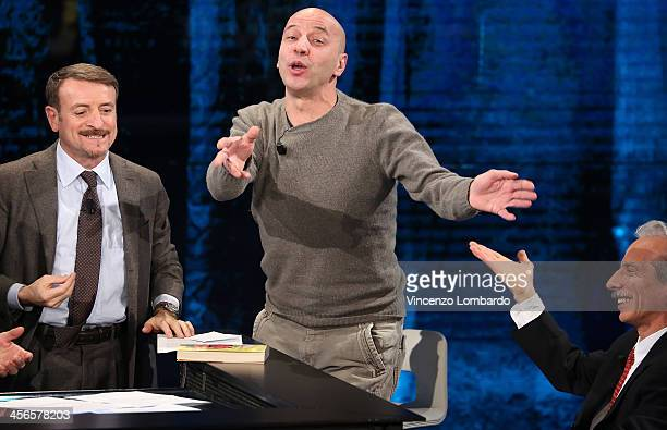 Giacomo Poretti Aldo Baglio and Giovanni Storti attend 'Che Tempo Che Fa' TV Show on December 14 2013 in Milan Italy