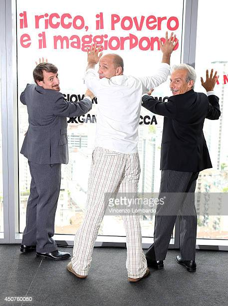 Giacomo Poretti Aldo Baglio and Giovanni Storti known as Aldo Giovanni e Giacomo attend the 'Il Ricco Il Povero E Il Maggiordomo' On Set Photocall on...