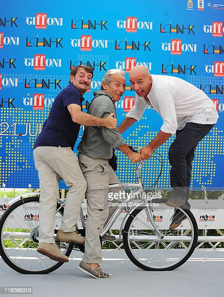 Giacomo Poretti Giovanni Storti and Aldo Baglio known as Aldo Giovanni e Giacomo attend the 2011 Giffoni Experience on July 15 2011 in Giffoni Valle...