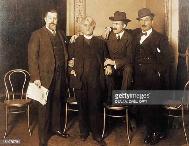 Giacomo Puccini Arturo Toscanini David Belasco and Giulio Gatti Casazza leaving for the United States to present the opera La Fanciulla del West...