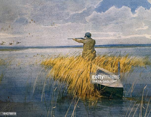 Giacomo Puccini hunting coots at Torre Del Lago Oil painting Torre Del Lago Puccini Museo Villa Puccini