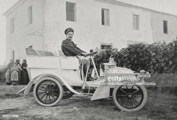 Giacomo Puccini in his car from L'Illustrazione Italiana Year XXX No 10 March 8 1903