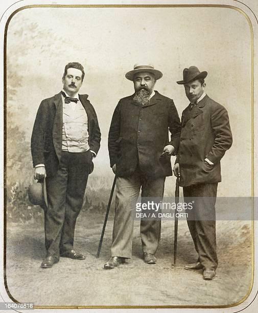Giacomo Puccini , Italian composer, with Giuseppe Giacosa , playwright and Luigi Illica , playwright and librettist. Torre Del Lago Puccini, Museo...