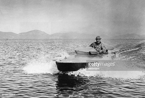 Giacomo Puccini Italian operatic composer aboard his motor boat Undated photograph BPA2# 4076