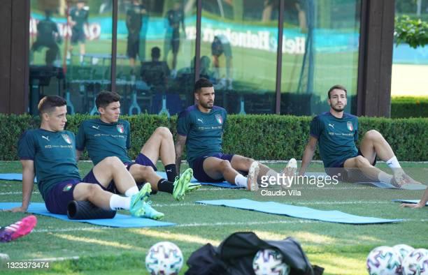 Giacomo Raspadori, Matteo Pessina, Emerson Palmieri and Gaetano Castrovilli of Italy in action during an Italy training session at Centro Tecnico...