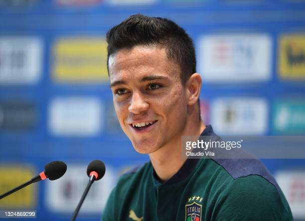 Giacomo Raspadori of Italy speaks to the media during a press conference at Centro Tecnico Federale di Coverciano on June 22, 2021 in Florence, Italy.