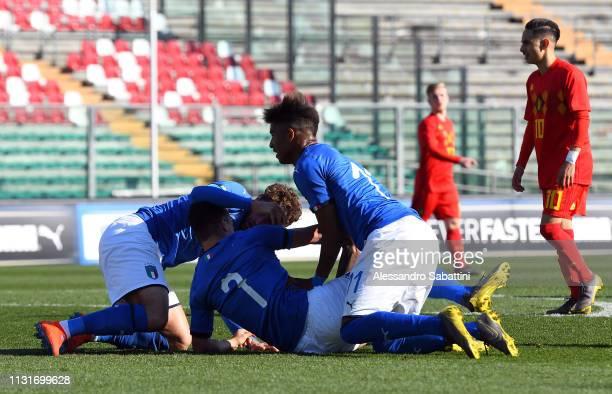 Giacomo Raspadori of Italy U19 celebrates after scoring his team second goal during the UEFA Elite Round match between Italy U19 and Belgium U19 at...