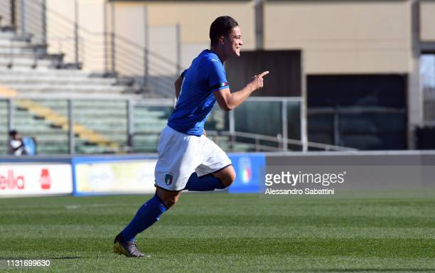 Giacomo Raspadori of Italy U19 celebrates after scoring his team second goal during the UEFA Elite Round match between Italy U19 and Belgium U19 at...