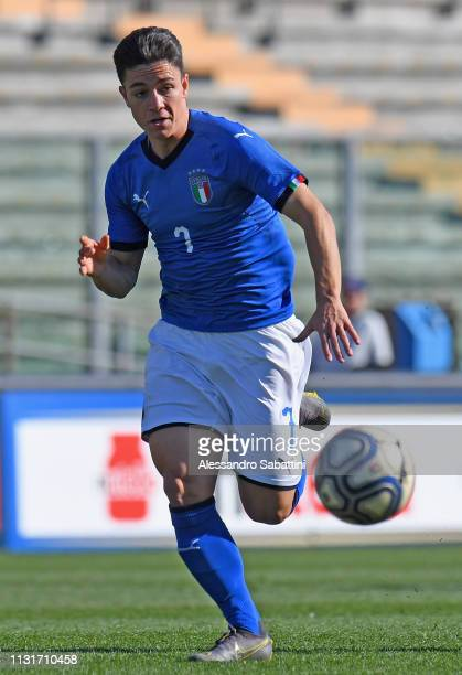Giacomo Raspadori of Italy U19 in action during the UEFA Elite Round match between Italy U19 and Belgium U19 at Stadio Euganeo on March 20 2019 in...