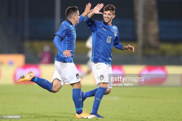 Giacomo Raspadori of Italy U21 celebrates after scoring a goal during the UEFA Euro Under 21 Qualifier match between Italy U21 and Sweden U21 at...
