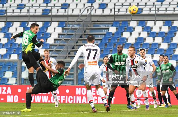 Giacomo Raspadori of Sassuolo scores their team's second goal during the Serie A match between US Sassuolo and Genoa CFC at Mapei Stadium - Città del...