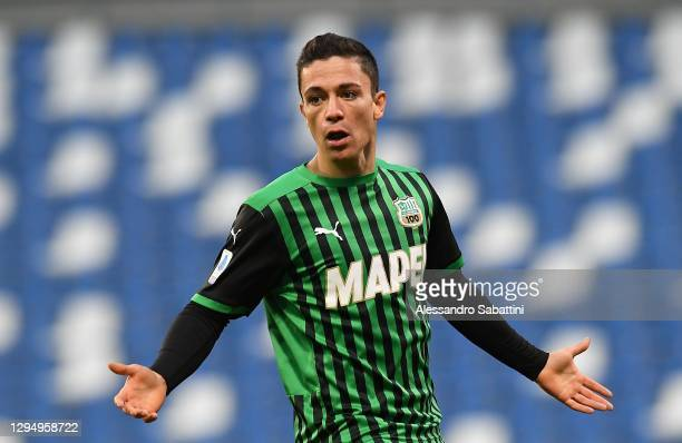 Giacomo Raspadori of US Sassuolo reacts during the Serie A match between US Sassuolo and Genoa CFC at Mapei Stadium - Città del Tricolore on January...