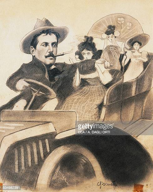 Giacono Puccini and the female characters from his works caricature by Biscaretti for the tenor Enrico Caruso Torre Del Lago Puccini Museo Villa...
