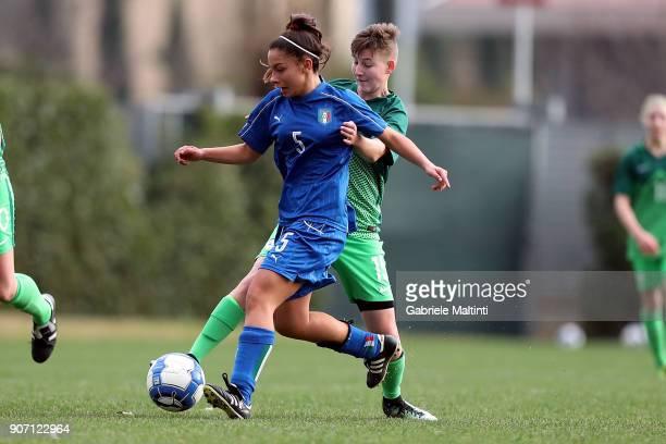 Giada Abate of Italy U16 women in action against Albina Cizmazija of Slovenia U16 women during the U16 Women friendly match between Italy U16 and...