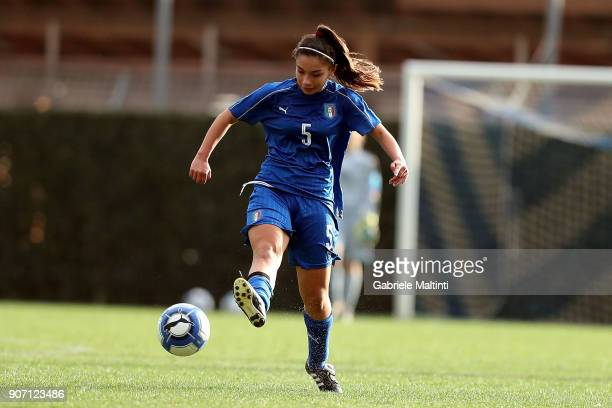 Giada Abate of Italy U16 women in action during the U16 Women friendly match between Italy U16 and Slovenia U16 at Coverciano on January 19 2018 in...