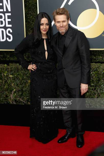 Giada Colagrande and actor Willem Dafoe attends The 75th Annual Golden Globe Awards at The Beverly Hilton Hotel on January 7 2018 in Beverly Hills...