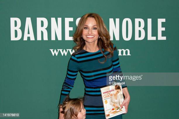 Giada De Laurentiis promotes her book Weeknights with Giada Quick and Simple Recipes to Revamp Dinner at Barnes Noble Union Square on March 27 2012...