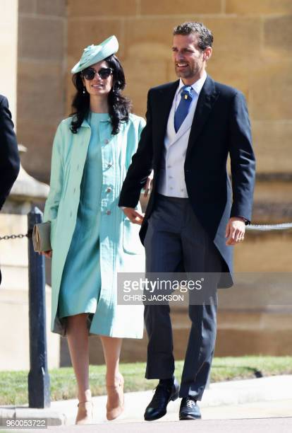 Giada Lubomirski and Alexi Lubomirski arrive for the wedding ceremony of Britain's Prince Harry Duke of Sussex and US actress Meghan Markle at St...