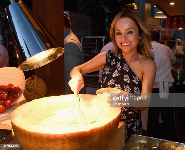 Giada owner and chef Giada De Laurentiis serves spring vegetable risotto during the 12th annual Vegas Uncork'd by Bon Appetit Grand Tasting event...