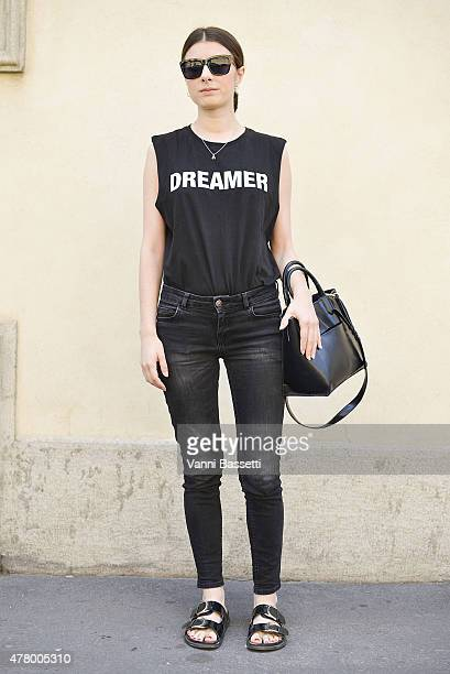 Giada Tinelli poses wearing a Yang Lee shirt on June 21 2015 in Milan Italy
