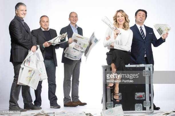 Gialappa's Band journalist Mia Ceran and comedian Mago Forest being the hosts of the satirical television program Rai dire Niùs Milan Italy 26th...