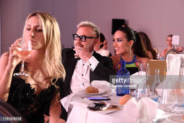 Gialnluca Vacchi and Sharon Fonseca attends theInaugural 'World Bloggers Awards' during the 72nd annual Cannes Film Festival on May 24, 2019 in...