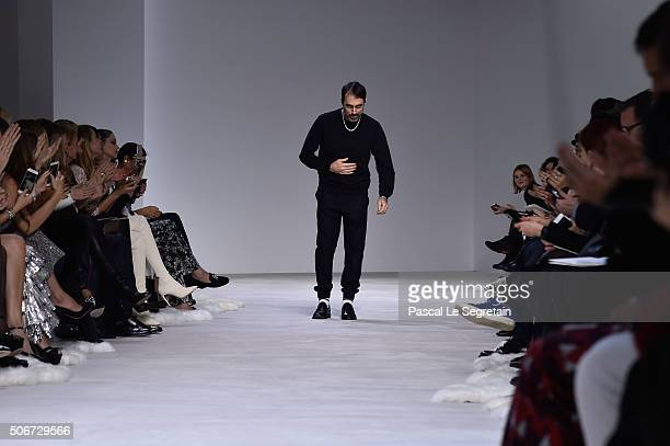 Giambattista Valli poses on the runway during the Giambattista Valli Spring Summer 2016 show as part of Paris Fashion Week on January 25 2016 in...